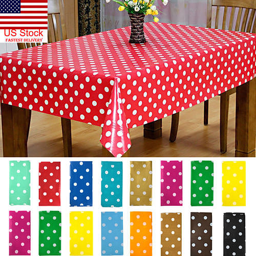New Waterproof Rectangle Dots Tablecloth Oilproof Table Cover For Wedding Banquet Party Decoration