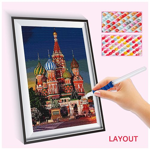 EverShine Diamond Mosaic Landscape Cross Stitch Diamond Painting Church Picture Rhinestones City Bead Embroidery Handmade Gift