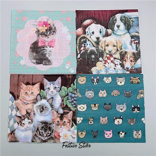 10pcs 33*33cm Cat Theme Paper Napkins Serviettes Decoupage Decorated for Wedding Party Virgin Wood Tissues Birthday Decoration