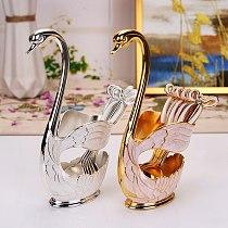 European style coffee fruit spoon fork set home furnishings fashion fruit lovely Swan dessert spoon tableware dessert plate