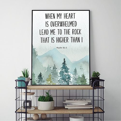 Bible Verse Psalm 61 2 Christian Wall Art Canvas Painting When my heart is overwhelmed Quotes Poster Prints Picture Home Decor