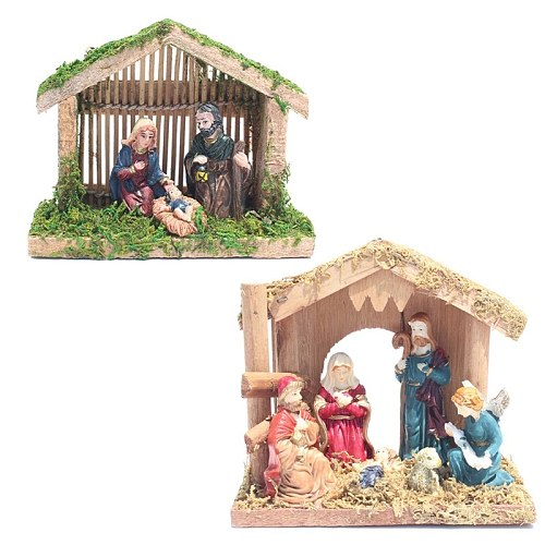Nativity Scene Statue Figurine with Moss House Christmas Gift Resin Miniature Sculpture Christian Religious Gift