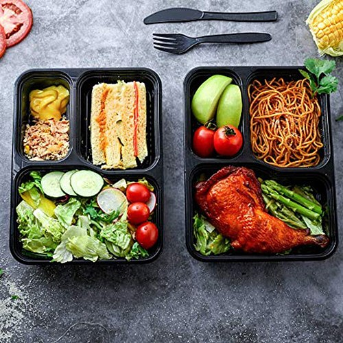 15PCS Disposable Bento Box 3-Compartment Meal Prep Container Microwave Safe Food Storage Containers with Lid (Black)