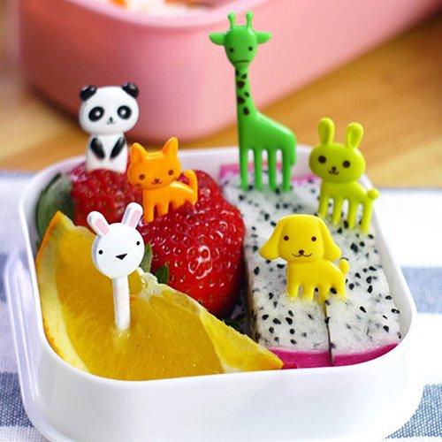10pcs Random Creative Plastics Animal Cute Mini Bento Fork Cute Mini Children's Fruit Fork Heat-resisting Bento Decoration Fork