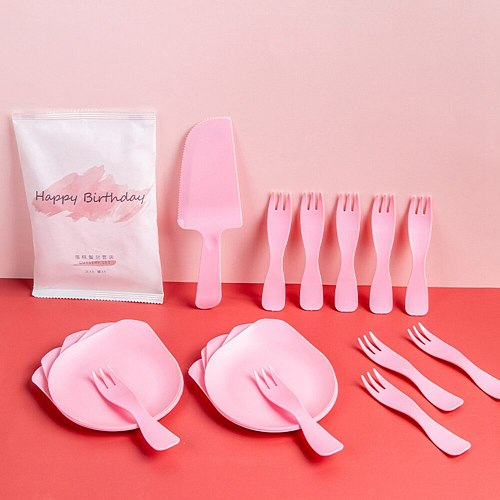 11PCS 5PCS Plate+5PCS Fork+1PC Knife Disposable Plastic Cutlery Plate Party Tableware Independent Paper Bag Cake Plate Set