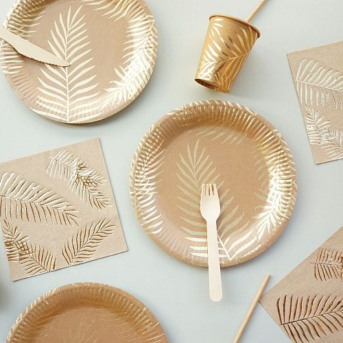 57Pcs/set Palm Leaf Disposable Tableware Gold Foil Paper Plates Cup Straws Birthday Wedding Party Decor Carnival Supplies