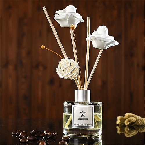 Fragrancea Rattan Aromatherapy Set Reed Oil Diffusers with Natural Sticks Glass Bottle and Scented Oil 50ML Reed Diffuser Sets