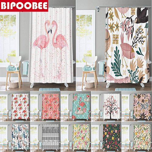 Elegant Flamingo Fabric Shower Curtains Waterproof Polyester Colored Flowers Bath Curtain Bathroom Bathtub Decoration with Hooks