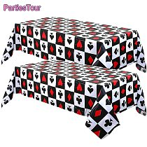 2pcs Poker Theme Table Cover Casino Party Plastic Tablecloth for Las Vegas Theme Adult Birthday Game Night Party Decorations