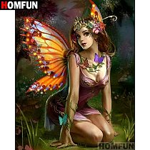 HOMFUN Full Square/Round Drill 5D DIY Diamond Painting  butterfly fairy  Embroidery Cross Stitch 5D Home Decor Gift A06959