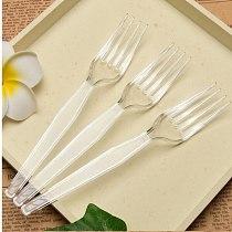 100PCs disposable fork cake fork cake fork fruit fork dessert fork Western food plastic snack fork