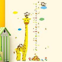 Cartoon height measure wall stickers for kids rooms Giraffe panda height ruler chart growup wall decals nursery home decor