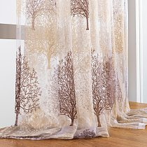 Elka Finished Floral Sheer Window Curtains for Living Room the Bedroom Kitchen Modern Tulle Curtains Window Treatment decoration