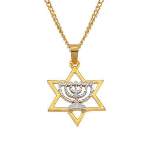 Judaism Jewelry Israeli Symbols Two Tone Pendant Necklaces for Women Girls Israel Hexagram Menorah Hanukkah #J0899