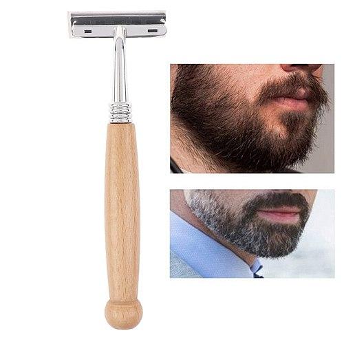 New 1pcs Wood Handle Razor Non-Disposable Stainless Steel Razor Replaceable Razor Head Retro Beard Knife Men Shaving