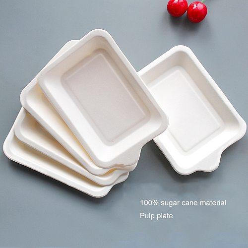 Rectangular cake tray White paper plate disposable dinner plate Paper plate barbecue Party Supplies Wedding Decor rectangle Kitc