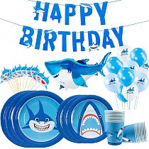Staraiae 8pcs Happy Birthday Shark Disposable Paper Tableware Ocean Party Decor For Kid Birthday Baby Shower Boy Party Supplies