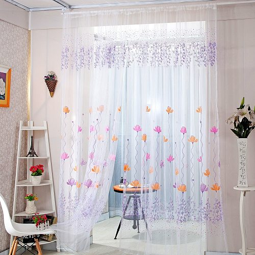 Lotus Sheer Curtain Tulle Window Treatment Voile Drape Valance 1 Panel Fabric Curtain Bedroom Living Room High Quality#P