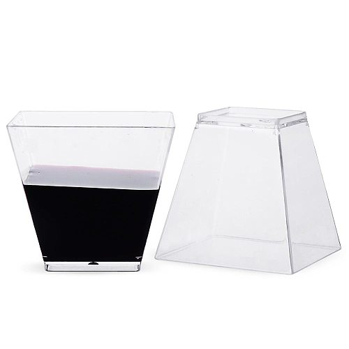 50pcs 60ml Disposable Plastic Cups Clear Portion Transparent Trapezoidal Food Container 30P