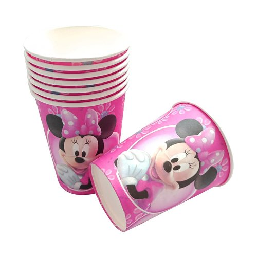 Minnie Mouse party paper cup 1st baby girl favor birthday Disposable tableware DIY balloon Scenes Collection decoration