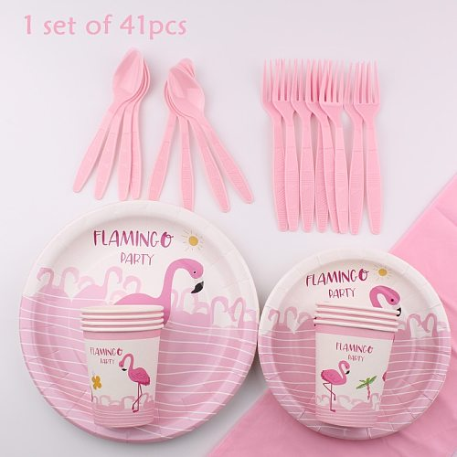 Flamingo Theme Tableware Set Cup Plate Napkin Tablecloth Straw Straw Party Decoration Supplies Disposable Tableware Party Suppli