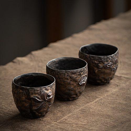 120ml Japanese Kung Fu Cup Coarse Pottery Ceramic Teacup Retro Tea Cup Household Buddhist Mood Antique Tea Cups