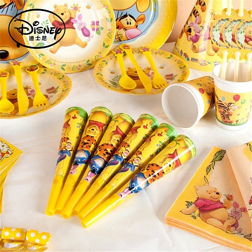 Winnie Bear Party Supplies Disposable Tableware Set Kids Birthday Baby Shower Tablecloth Cups Plates Spoons Party Decoration