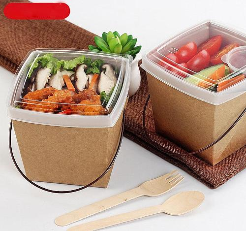 Disposable Kraft Paper Lunch Box with Handle Double Layer Anti Oil Leakproof Takeaway Picnic Box Travel Food Containers SN3487