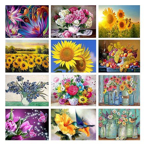 5D Diy Flower Diamond Painting Kit Full Sunflower Round Drill Diamond Embroidery Mosaic Cross Stitch Home Decoration Gift