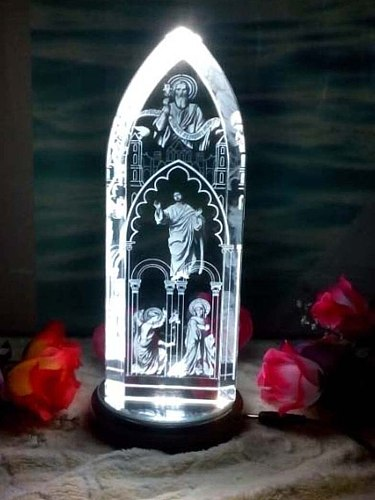 GOOD LUCK -22CM LARGE best gift present Religious Jesus Christ Advent Holy Father the Virgin Mary 3D Crystal Image statue