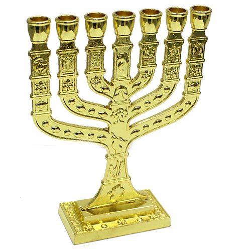 Jewish Menorah Candle-holders Religions Candelabra Hanukkah Candlesticks 7 Branch Candle Holder