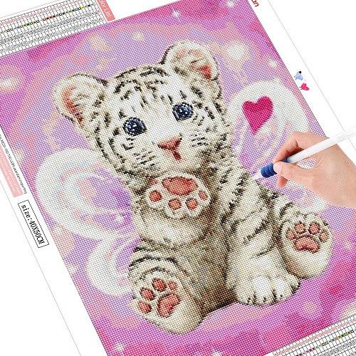 HUACAN 5D DIY Diamond Painting Tiger Diamond Embroidery Cross Stitch Cartoon Round Full Drill Mosaic Kit Children Gift