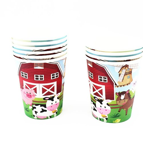Farm Animals Theme Disposable Tableware Paper Napkins Plates Cups Kids Birthday Party  Party Tableware Decorative
