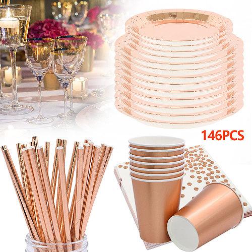 146pcs Rose Gold Disposable Tableware Set Set Plates Cups Straws Festive Restaurant Decoration Wedding Birthday Party Supplies