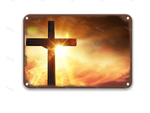 Christianity scaled  Old Furn Metal Tin Signs Movies Horror Movie for Kitchen Sign 8x12 Inches