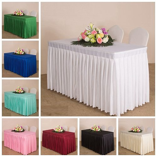20 Colours Wedding Table Cover Ruffled Table Cloth Table Skirt Table Linen Box Cover Pleated For Hotel Banquet Party Decoration