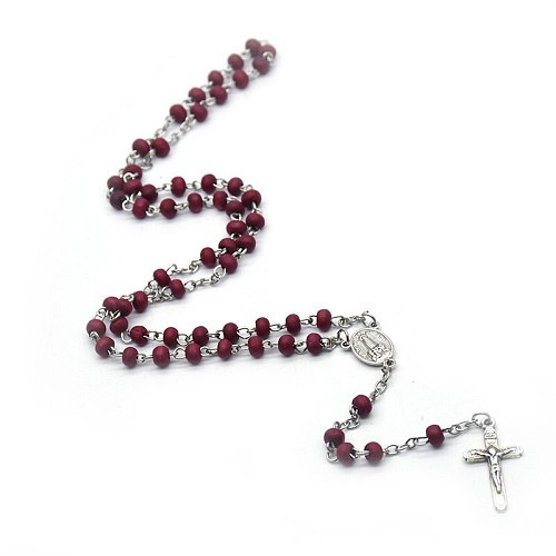 Rose Scented Beads Rosary Necklace Cross Pendants Our Lady of Fatima Necklaces Religious Jewelry Church Prayer Souvenir
