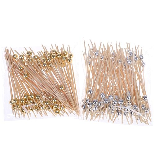 100Pcs Disposable Party Tableware Bamboo Forks Wedding Supplies Buffet Fruit Desserts Sticks Cupcake Toppers Cocktail Picks