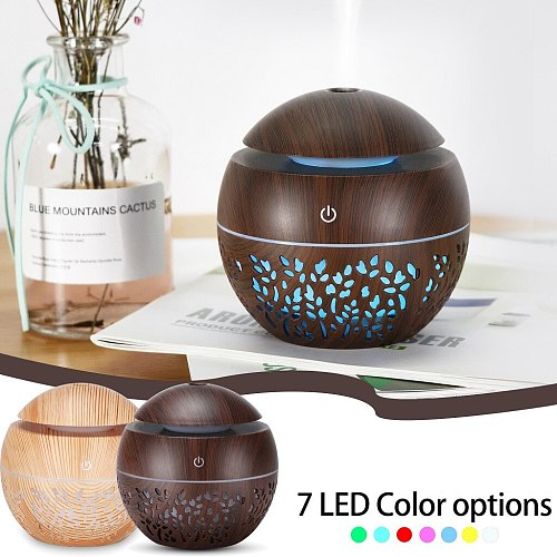 USB humidifier Electric oil Aromatherapy wood grain Ultrasonic air diffuser with 7 colors lights for home office Reed Diffusers