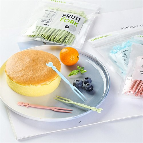 50pc Fruit Fork Kitchen Accessories Cake Sign One-time Household Plastic Dessert Sign Goods for The Kitchen Tableware Cuisine.8z