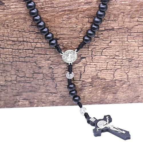 2021 New Black Wooden Cross Religious Necklace Catholic Rosary Necklace Church Souvenirs