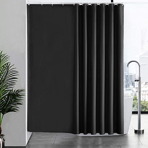 Black shower curtain Thick polyester shower curtain bathroom Waterproof shower curtains(with rings)