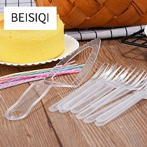 Cake tableware disposable cake fork dish set birthday cake knife and fork plate combination paper plate