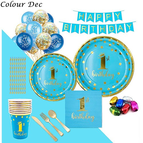 Kids Favorite Birthday Party Decoration Supplies Disposable Tableware/plate/cup/fork/for Baby Shower boy Girl 1 Year ding Dec