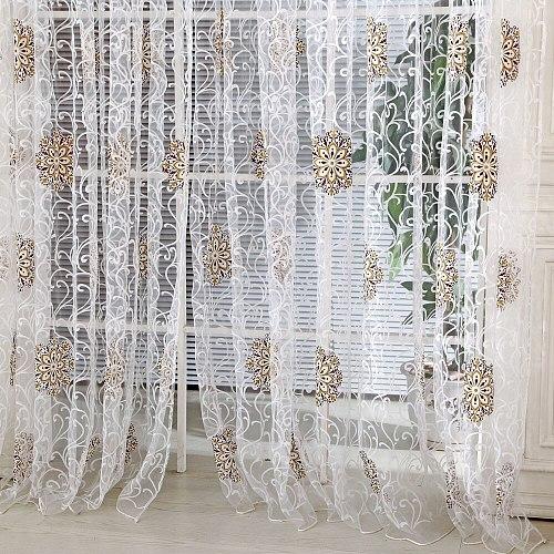 Modern Flower Tassel Curtain Line String Window Curtain Door Room Divider Scarf Valance Bedroom Kitchen Tulle Sheer Curtains