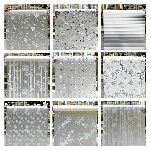 Decorative Adhesive Vinyl Window Privacy Film Window Sticker Decals Waterproof Sun UV Protection Bamboo Sliding Door Bathroom