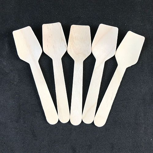 100pcs Disposable Healthy new wooden cake spoon Smooth Natural  Ice Cream Spoons  Dessert kid spoon for Yogurt mini small spoon