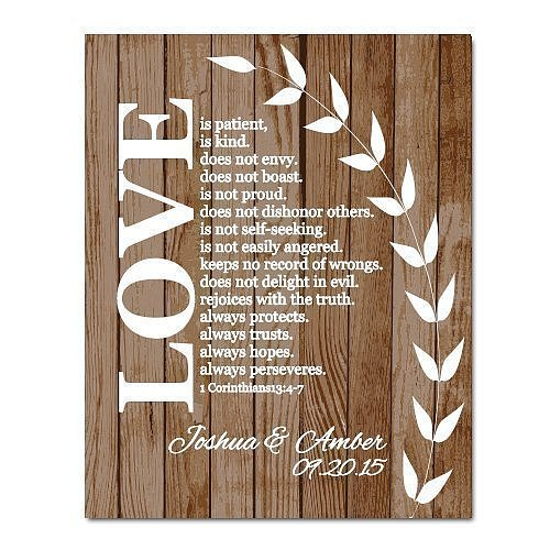 Corinthians Wooden Plaque Sign Decor Religious Custom Wedding Welcome Sign Anniversary Christian Couple Engagement Gift