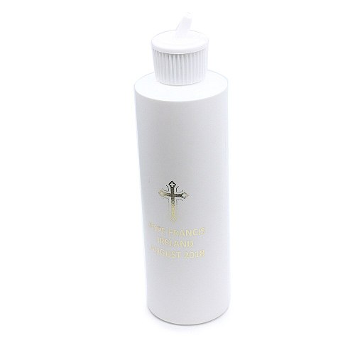 Fashion Holy water bottle 250ML round plastic bottle religious articles Cross stamping LOGO Christian religious gifts