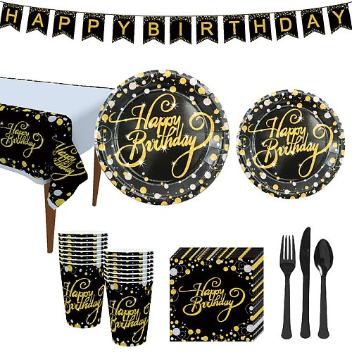 114pcs Birthday Napkin Black Gold Cup Disposable Dinnerware Set Festival Tableware Party Decoration Paper Plate Forks Spoons